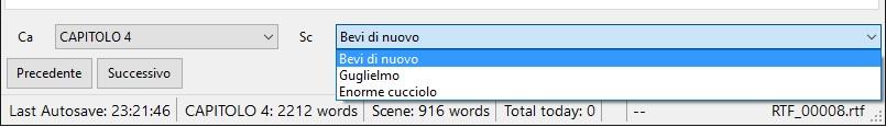 yWriter6 - EditorScene_BarraStato