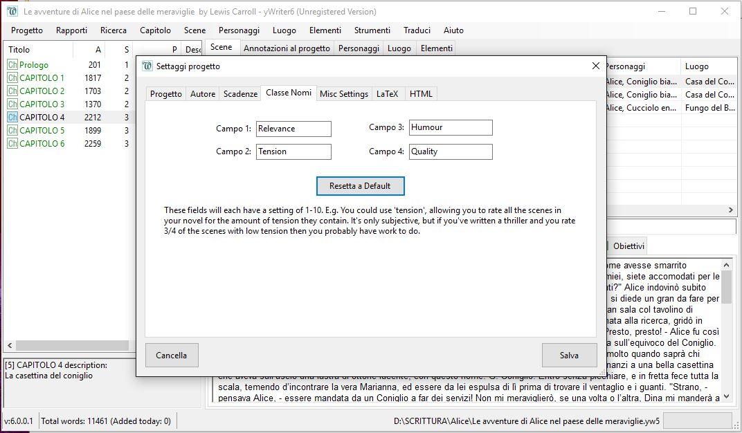 yWriter6 - EditorScene_Classificazione2
