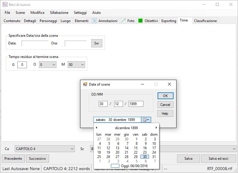 yWriter6 - EditorScene_Time2