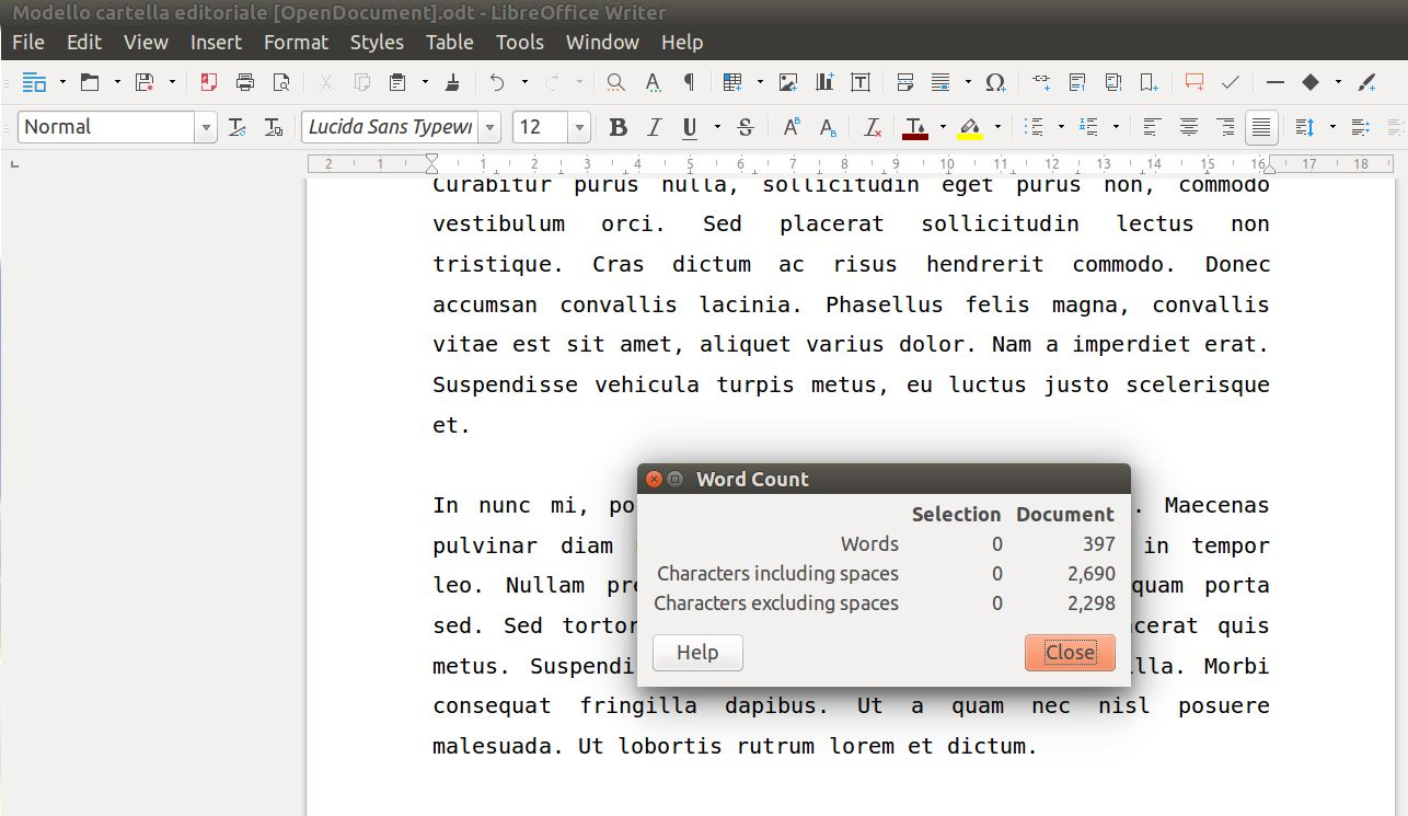 Libreoffice Word Count