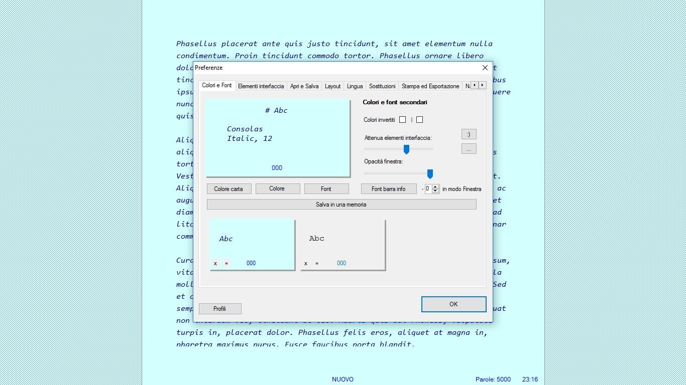 Writemonkey - Colori e Font