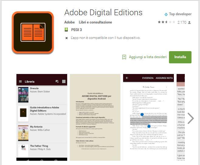 Leggere ebook dal cellulare - Adobe Digital Editions