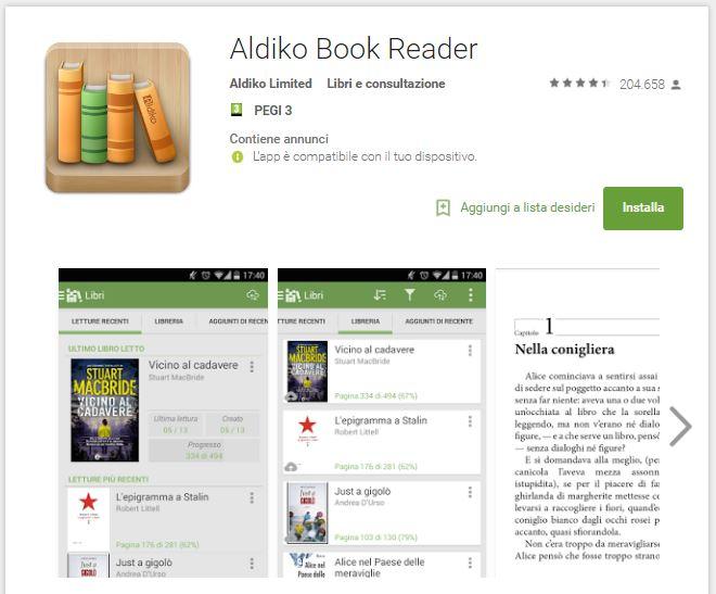 Leggere ebook dal cellulare - Aldiko Book Reader