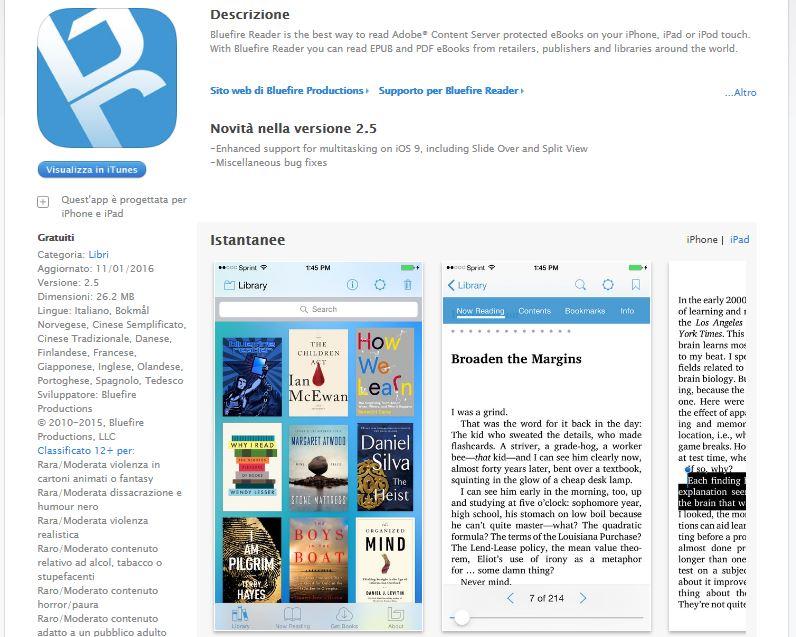 Leggere ebook dal cellulare - Blue fire Reader