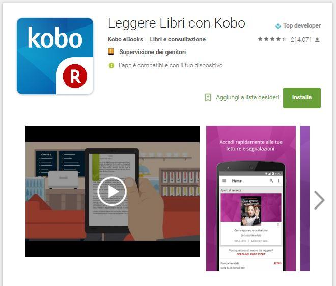 Leggere ebook dal cellulare - Kobo