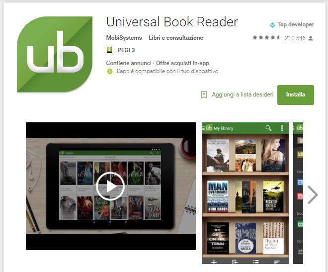 Leggere ebook dal cellulare - Universal Book Reader
