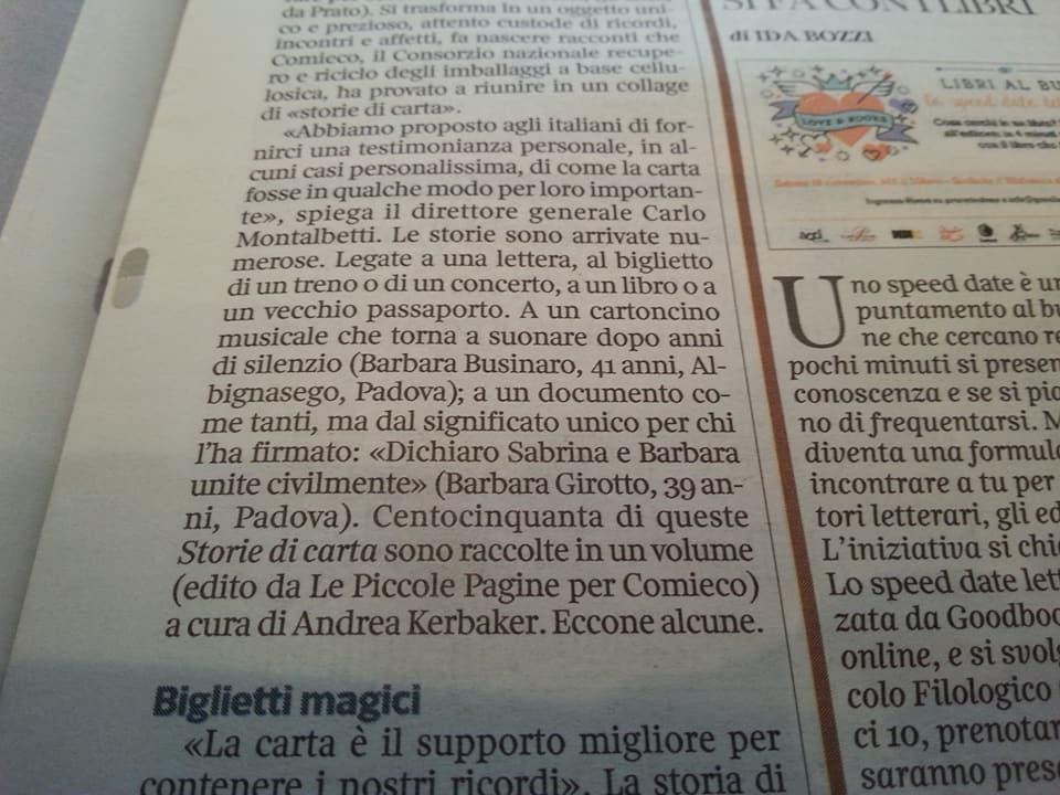 Storie di carta sul Corriere Della Sera - particolare