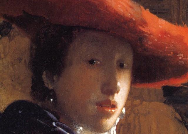 Vermeer - Fanciulla con cappello rosso - particolare