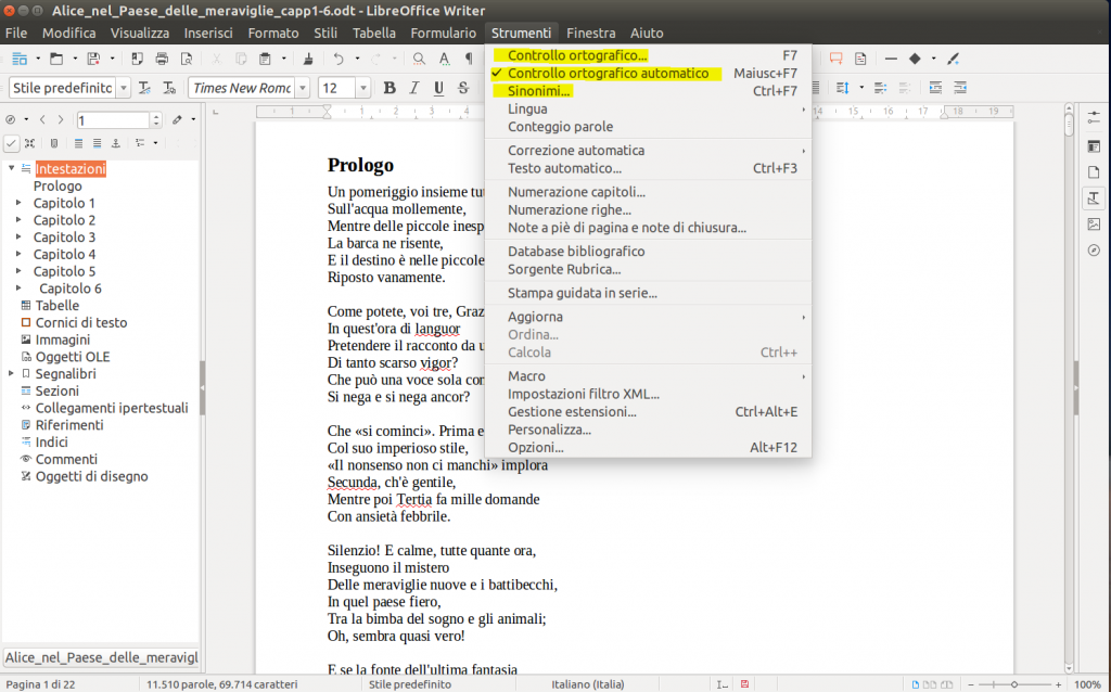 LibreOffice Writer - Controllo Ortografico