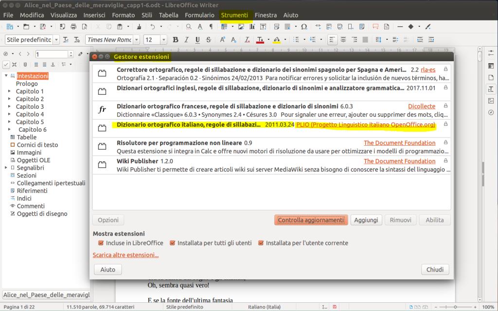 LibreOffice Writer - Gestione Estensioni