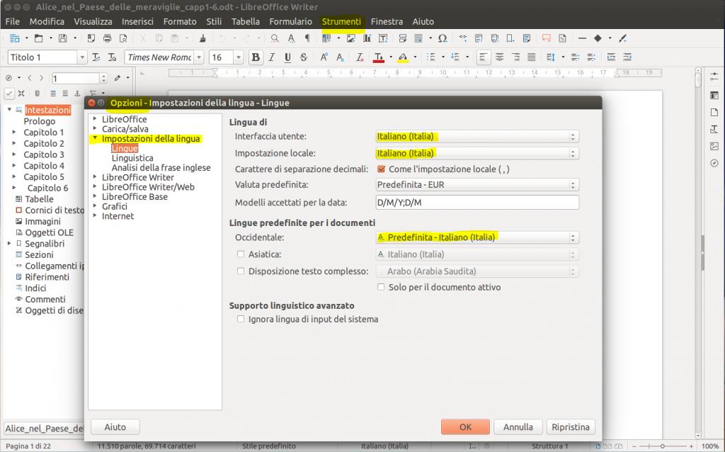 LibreOffice Writer - Lingua