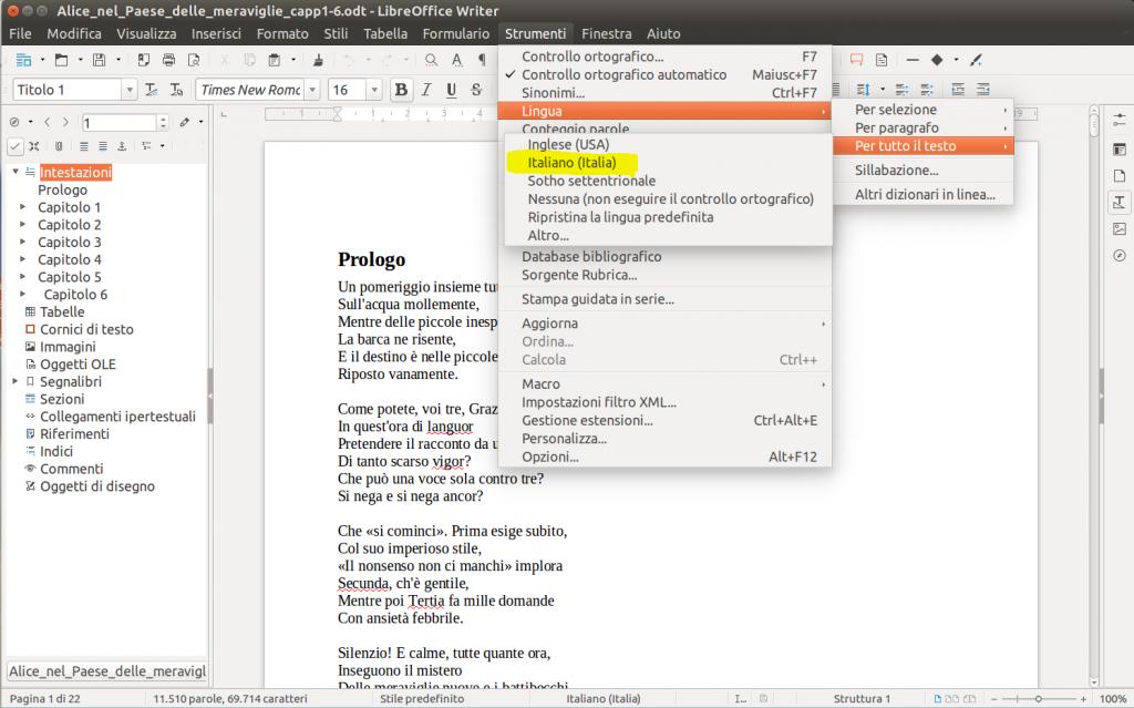 LibreOffice Writer - Lingua per tutto il testo