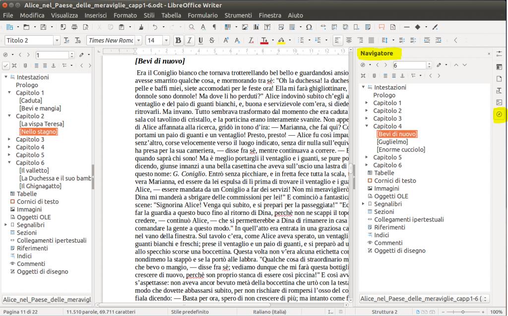 LibreOffice Writer - Riquadro Navigatore