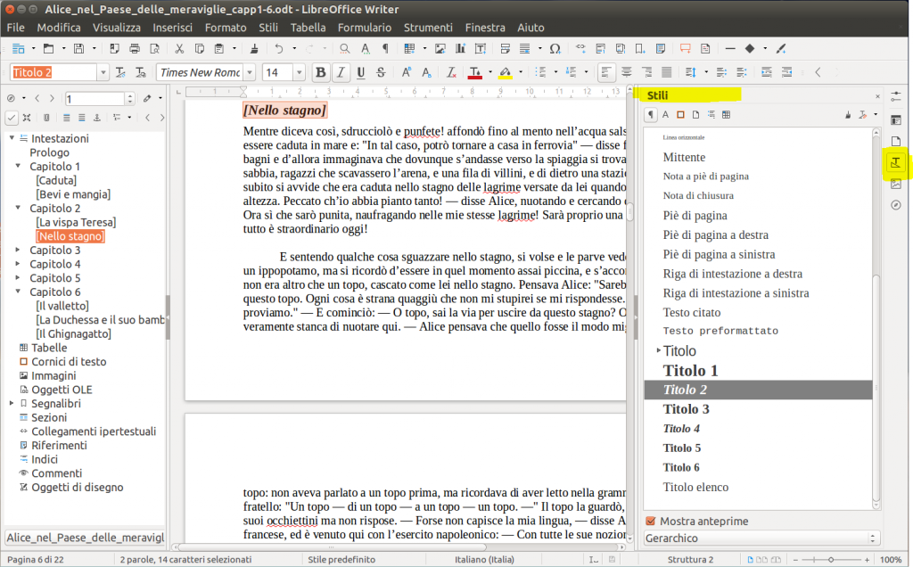 LibreOffice Writer - Riquadro Stili