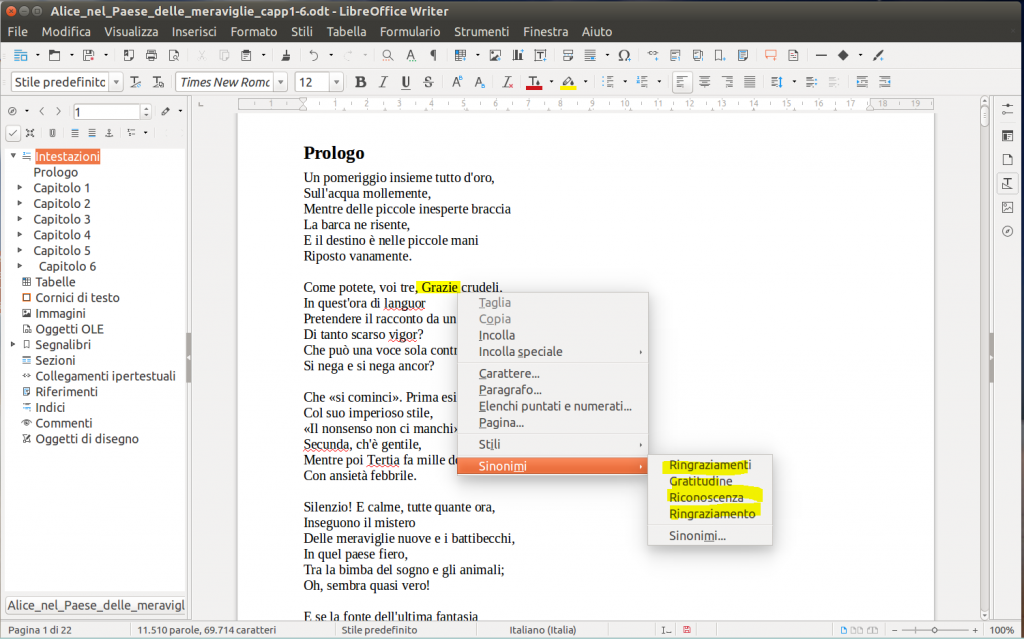 LibreOffice Writer - Sinonimi
