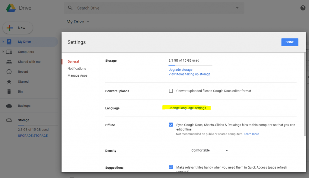 Google Docs - Cambio lingua interfaccia 2