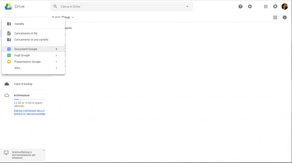 Google Docs - Nuovo documento