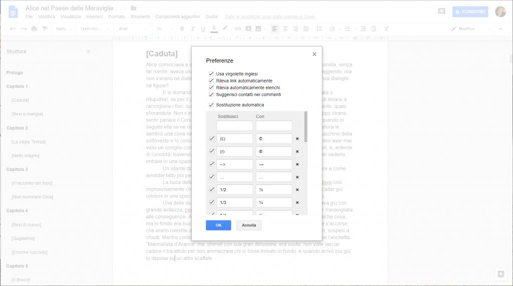 Google Docs - Impostazione preferenze