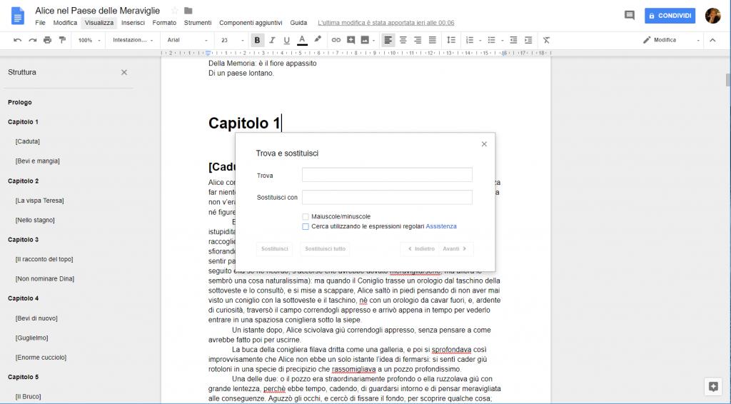 Google Docs - Trova e sostituisci
