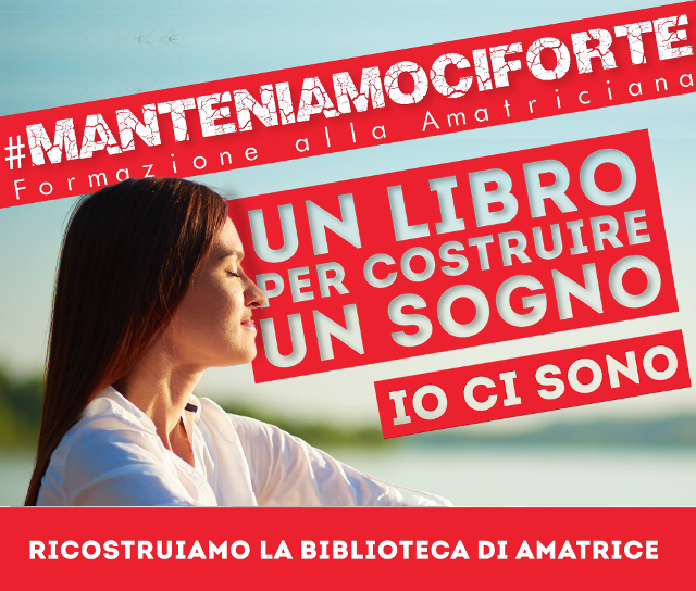 ManteniamociForte, un libro per ricostruire la biblioteca di Amatrice