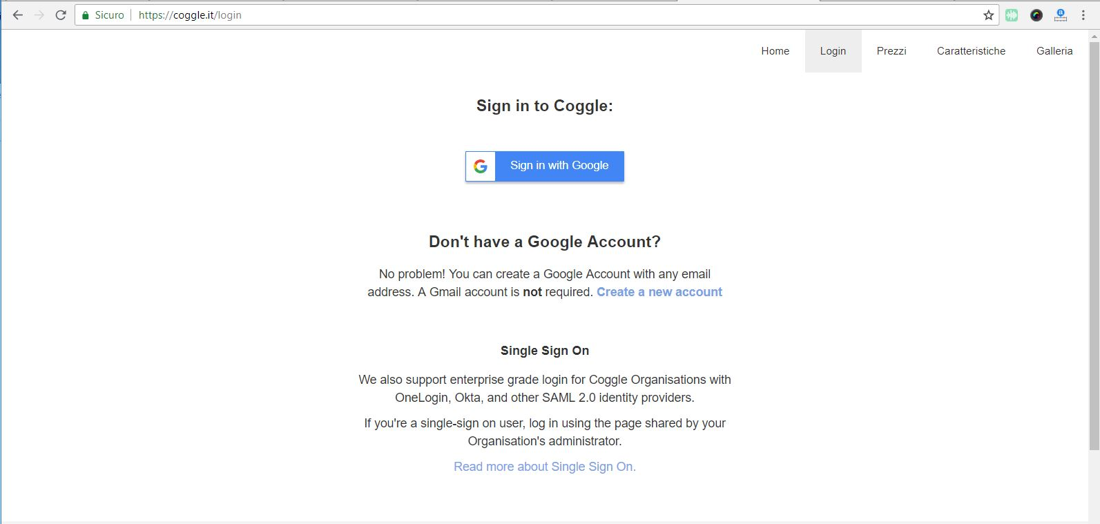 Coggle - Login senza Gmail