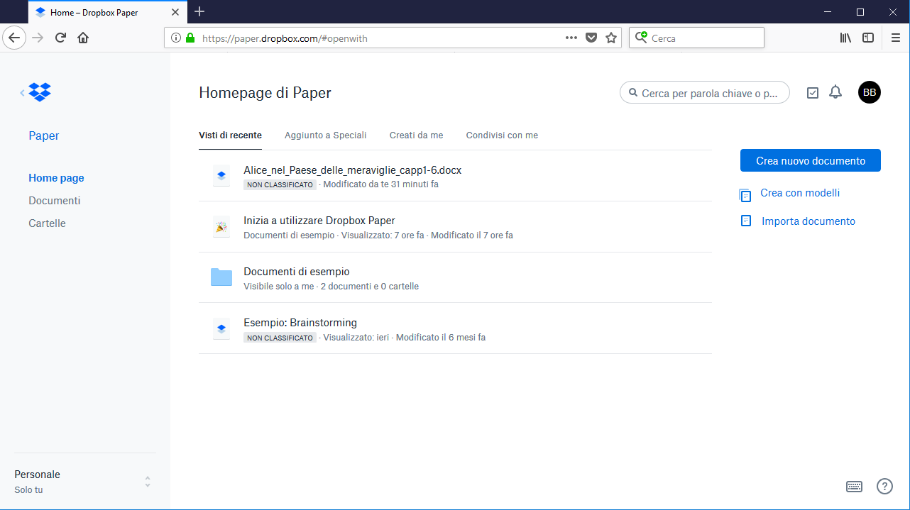 Dropbox Paper - Homepage