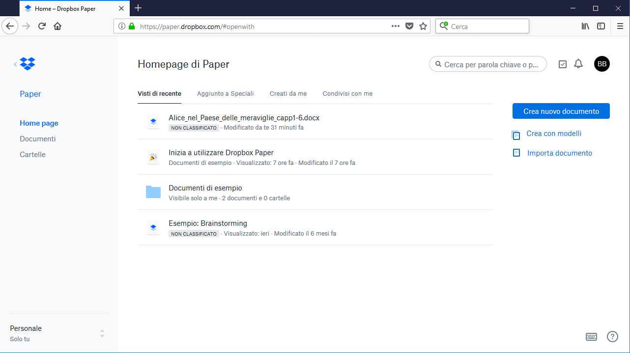 Dropbox Paper - Homepage