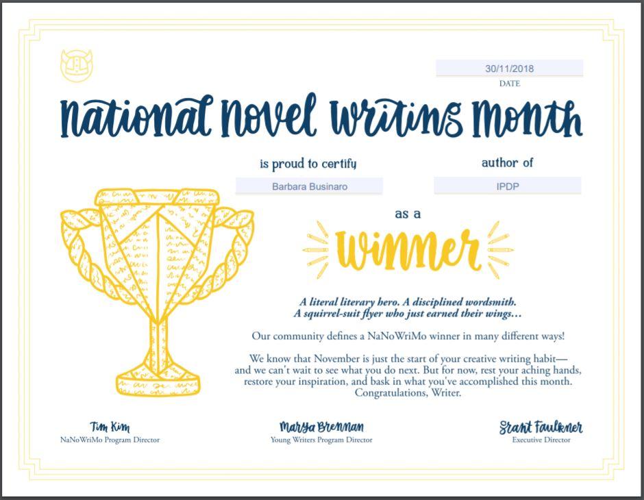 NaNoWriMo 2018 - certificato winner