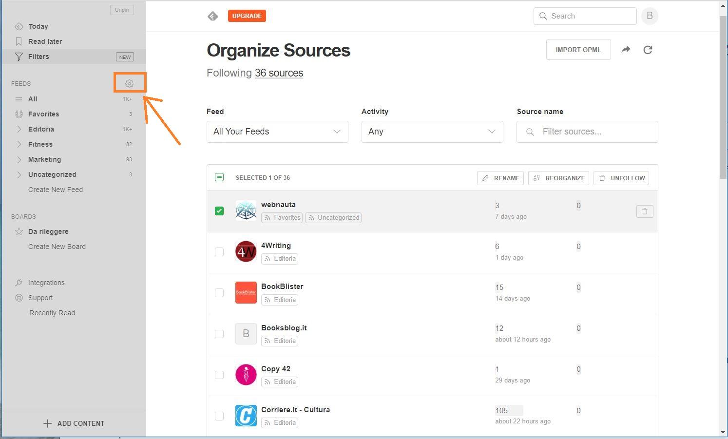 Feedly - Organizza sorgenti