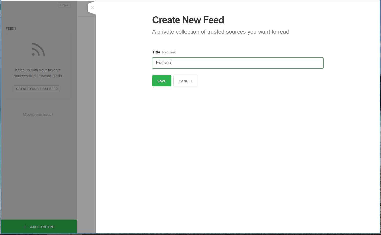 Feedly - creazione feed