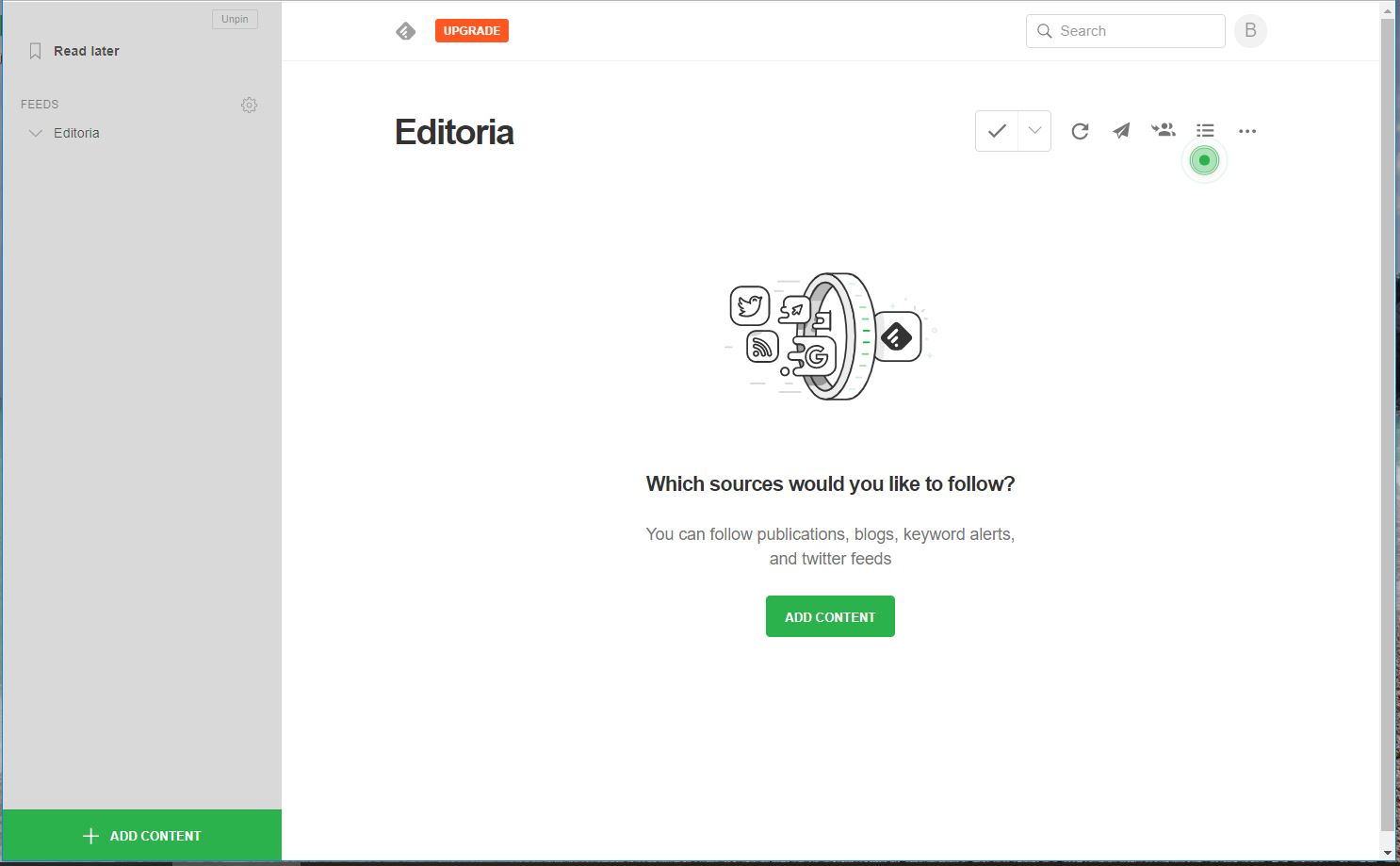 Feedly - nuovo feed