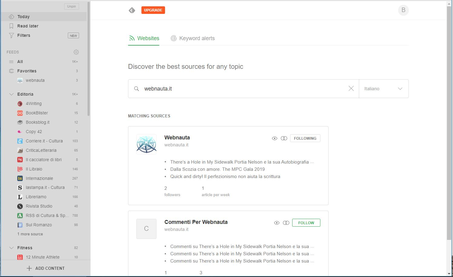Feedly con webnauta.it