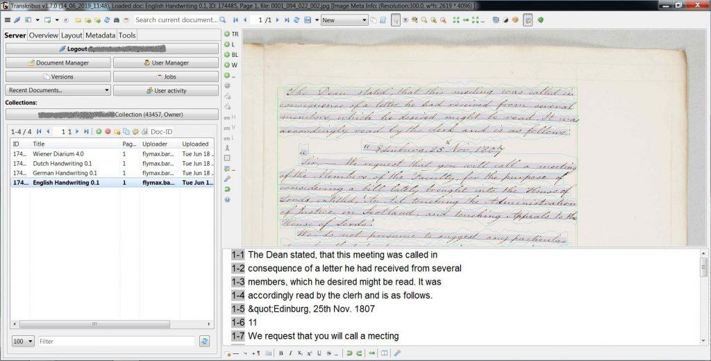 Transkribus - documento in inglese d'esempio