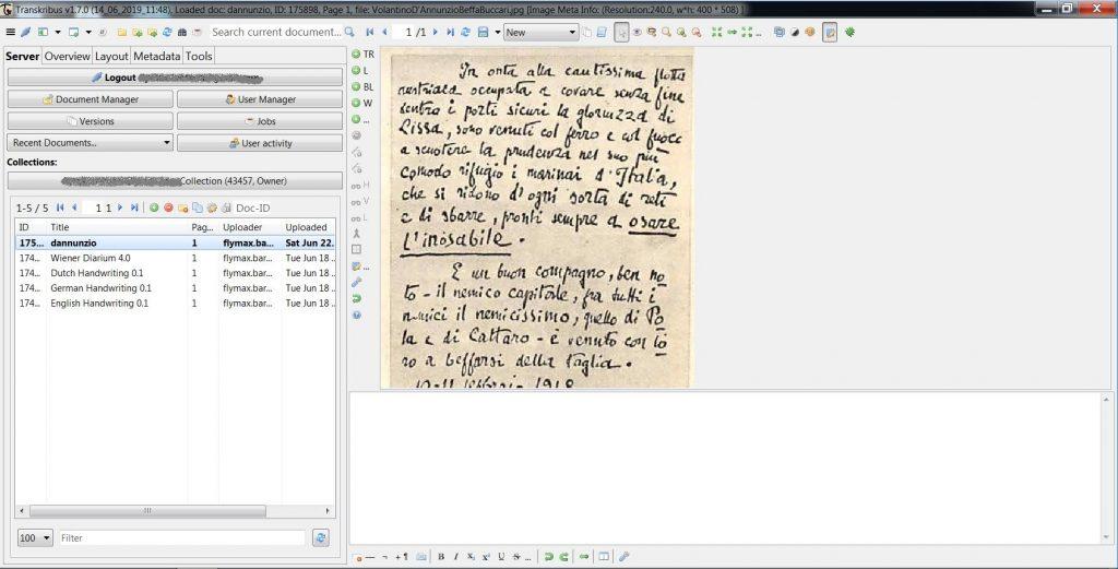 Transkribus - manoscritto di D'Annunzio