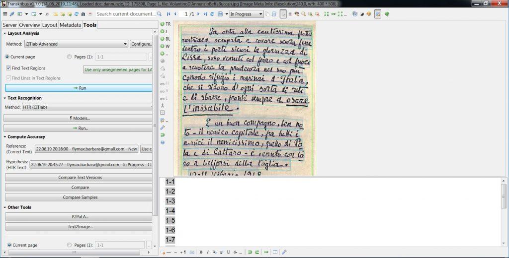 Transkribus - manoscritto di D'Annunzio con righe riconosciute