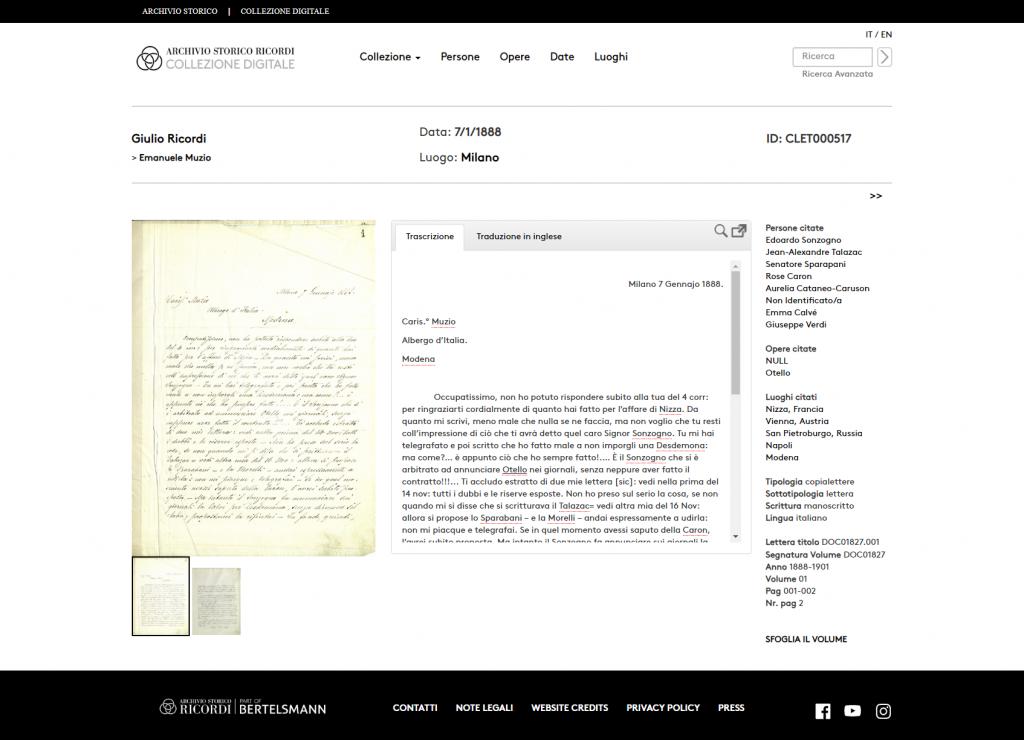 Transkribus - Archivio Storico Ricordi