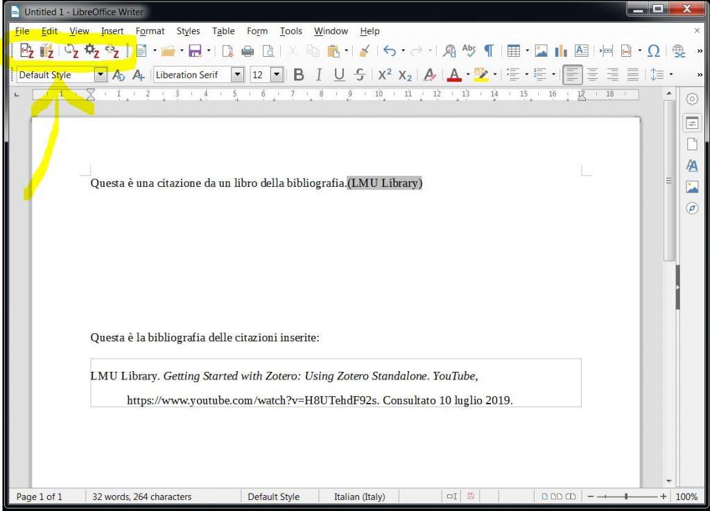 Zotero - integrazione con LibreOffice