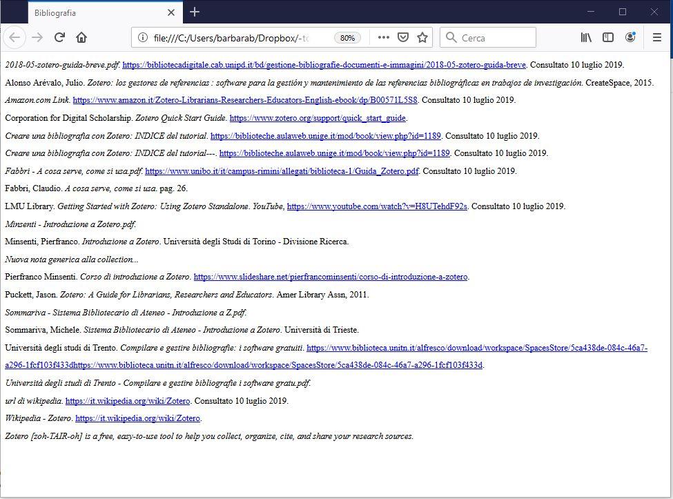 Zotero - bibliografia in HTML