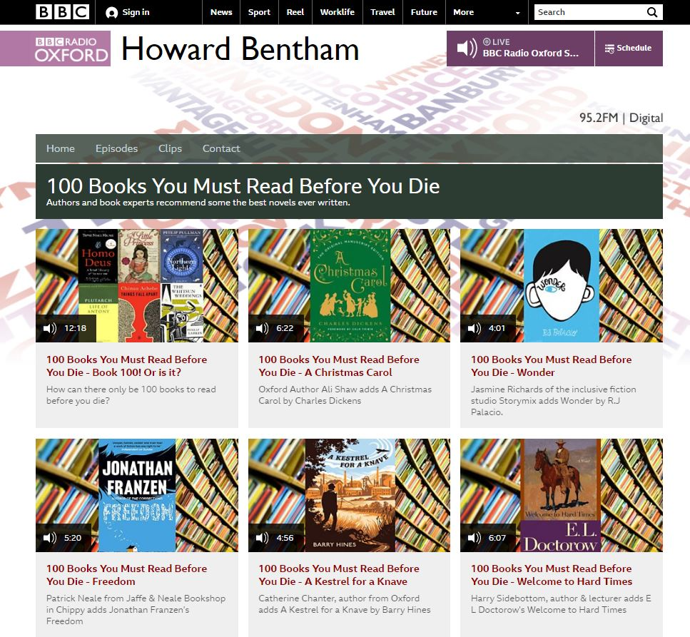 BBC Radio Oxford - Howard Bentham - 100 Books to Read Before You Die