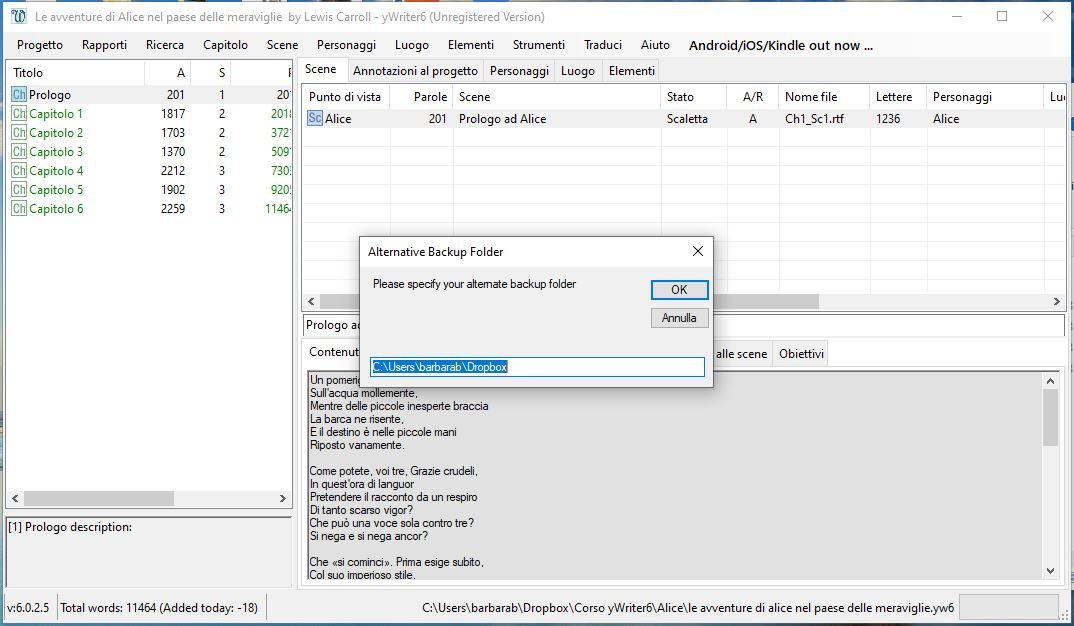 yWriter6 - Alternative backup folder