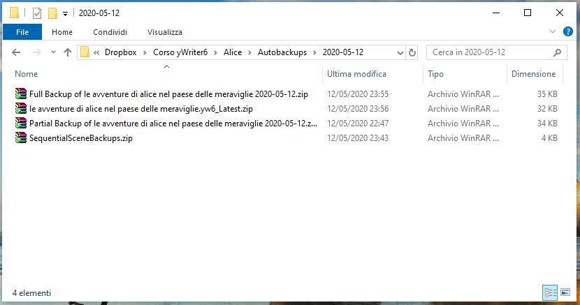yWriter6 - Autobackups Progetto 2