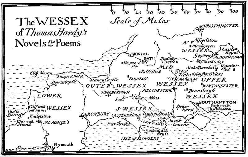 Wessex di Thomas Hardy - mappa di Bertram Windle