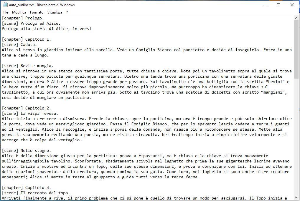 yWriter6 - Esportazione Scaletta