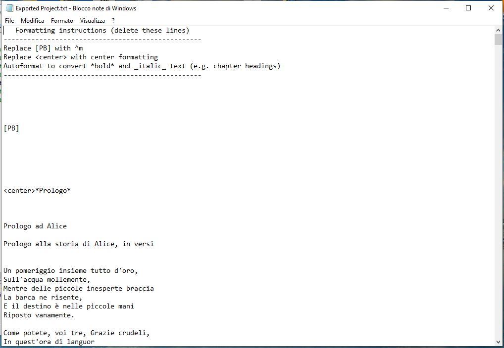 yWriter6 - Esportazione TXT